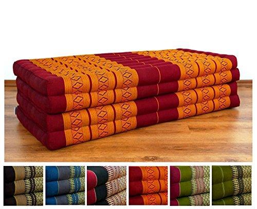 Asia Wohnstudio 3 Fold With Extra Large Triangle Cushion, 100% Natural Kapok Filling, Xxl Jumbo Thai Pillow, Headrest (Folding Mattress Xl) Cushion Folding Xl by Asia Wohnstudio