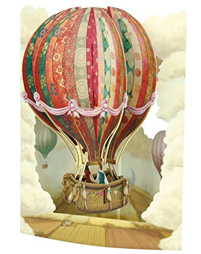 Santoro Interactive 3D Swing Greeting Card, Hot Air (Balloons Greeting Card)