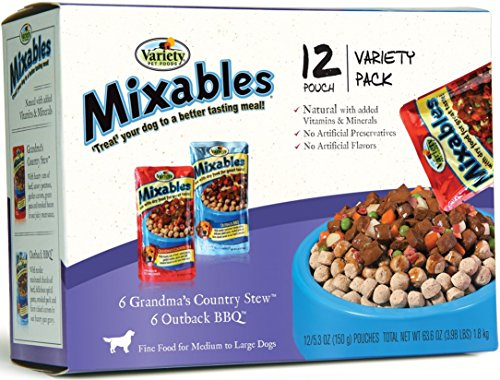 Variety 00080 12/5.3-Ounce Mixables Beef Lovers Natural Dog Food, Includes 6-Grandma's Country Stew and 6-Outback BBQ, - Dog Topping