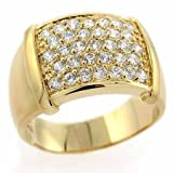 Gold Tone over Sterling Silver Cubic Zirconia Pave Mens Ring