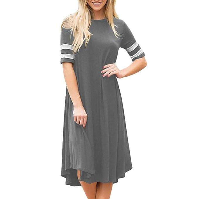 33db0443428cbe Damen Kleid Rosennie Frauen mode Reine Farbe Elegant Lässiges lose  Sommerkleid Chic O-Ausschnitt Einzigartig