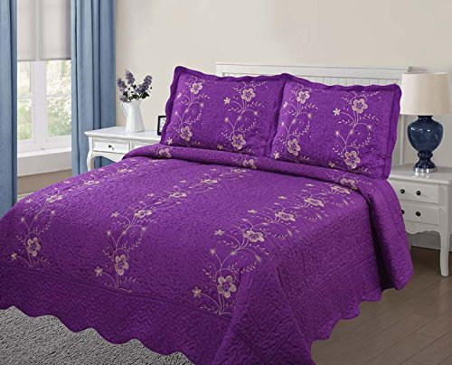 2 Quilt Shams Floral (Golden Linens Over Size 3 pieces Solid Color Embroidery Floral Design Quilt Bedspread Coverlet Set With Two Pillow Shams (Full, Purple))