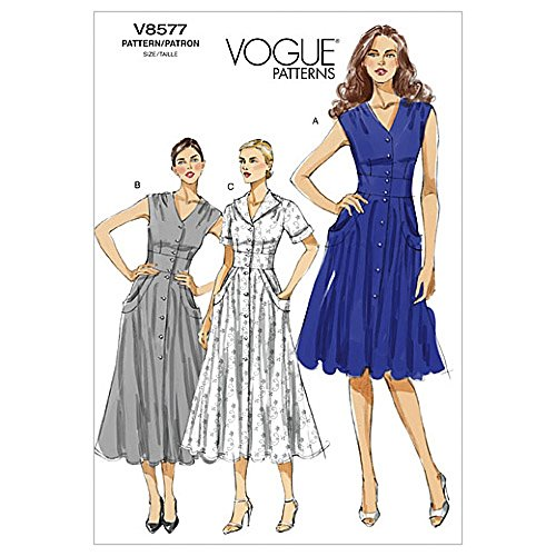 - Vogue Ladies Easy Sewing Pattern 8577 Tea Dress with Pockets