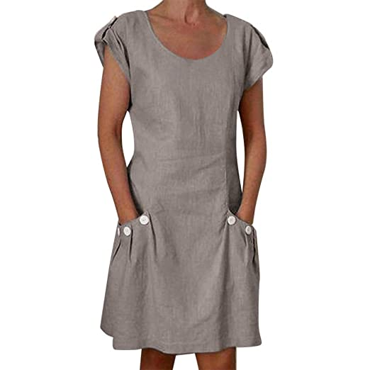 818f51fd17b Amazon.com  Women s Linen Dress Casual O-Neck Ruffle Pocket Button Sundress  Summer Beach Sleeveless Ruffle T-Shirt Short Dresses S-5XL  Clothing
