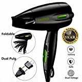 Professional Folding Blow Dryer for Travel 1300 to 1500W Negative Ion Hair Dryer Dual Voltage Lightweight,Mini 9x10 Inch Size (Black), Mothers Day Gifts for Women,Green(Not Include Cool Shot Button)