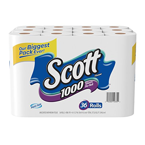 Price comparison product image Scott 1000 Sheets Per Roll Toilet Paper,36 Rolls Bath Tissue