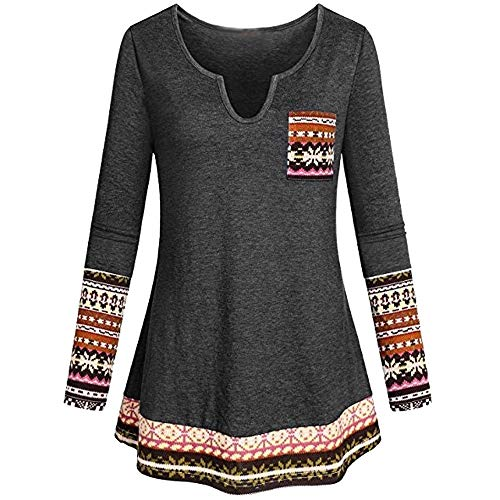 (Plus Size Tops,Toimoth Women's Long Sleeve Boho Patchwork Tunic Blouse Shirt with Pocket (Gray,2XL))