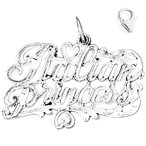 (Jewels Obsession Italian Princess Pendant | Sterling Silver 21mm Italian Princess with 7.5