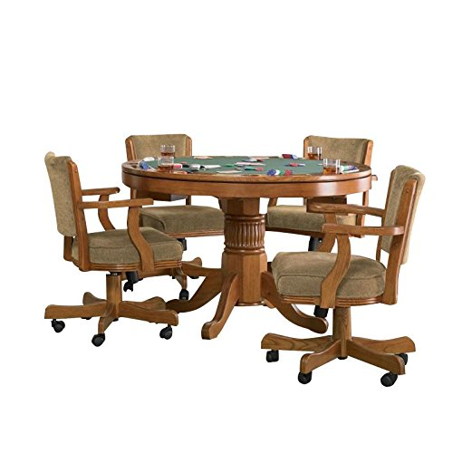 BOWERY HILL 5 Piece 3-in-1 Game Table Set in Oak by BOWERY HILL
