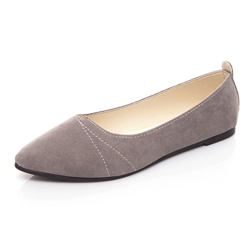 Sunyastor Women's Ballet Comfort Light Faux Suede Multi Color Shoe Flat Pointed Toe Soft Flat Slip-on Fashion Loafer Shoes Gray