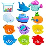 INNOCHEER Bath Toys and Stacking Cups for Toddlers with Quick Dry Organizer Net-12 Pcs Early Educational Toy for Bathtub Game, Beach and Pool Party