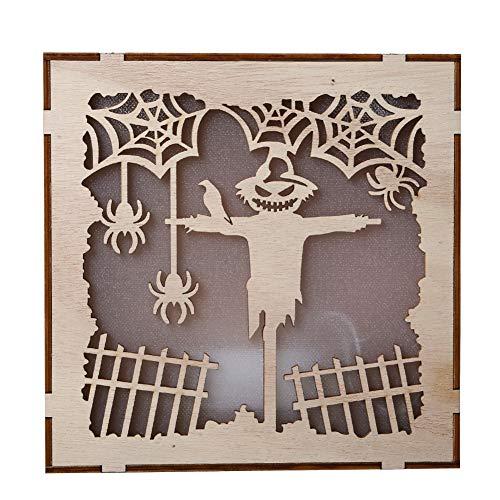 Shuohu Wooden Square Halloween Witch Pumpkin Pendant,LED Night