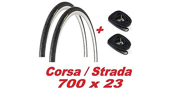 2X Neumáticos + 2X Cámaras de Aire 700 X 23 para Bicicleta ...
