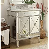 Superbe 32u201d All Mirrored Reflection Austell Bathroom Sink Vanity Model MF1 5105SC ( Silver