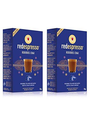 Red Espresso Chai Rooibos Tea Capsules - Nespresso Compatible - 20 capsules (2 box)
