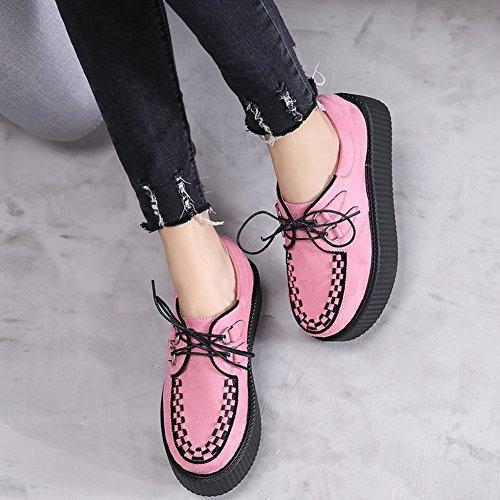 Chaussures Punk Lacets Creeper Plateaforme Femmes Cuir Rose Oxfords Gothique Roseg Xq0Sf