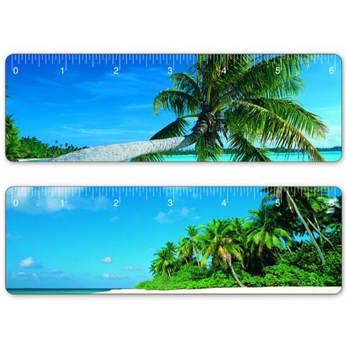 6 Inch Lenticular Flip Ruler Bookmark Tropical Island Hawaii Paradise ()