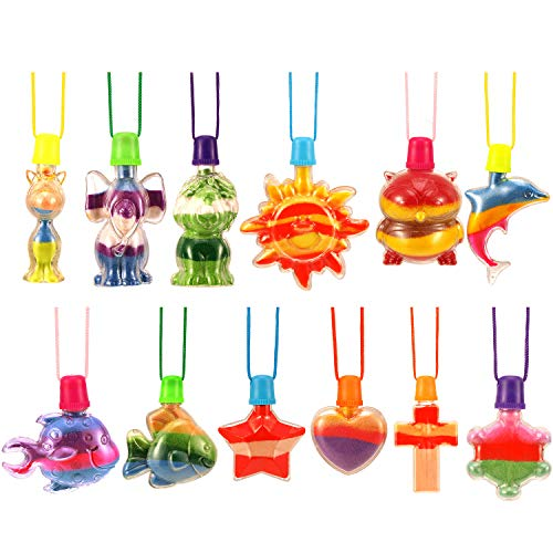 Hicarer 12 Pieces Sand Art Bottle Necklaces Animals Sand Art Necklace for Novelty Art Activity Group Variety Summer Beach Games ()