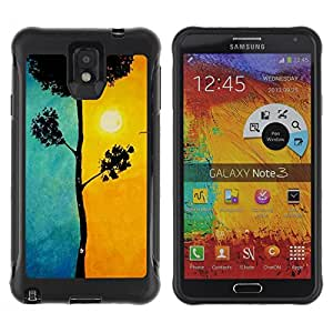 BullDog Case@ Yellow Blue Tree Meaning Sun Painting Rugged Hybrid Armor Slim Protection Case Cover Shell For Note 3 Case ,N9000 Leather Case ,Leather for Note 3 ,Case for Note 3 ,Note 3 case