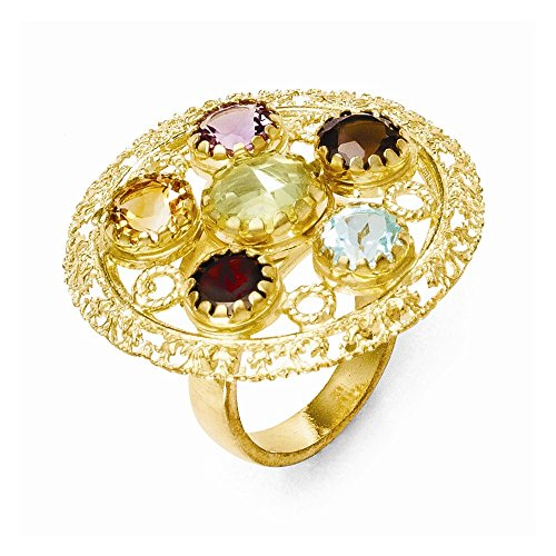 Sterling Silver 14k Gold-Plated Multi-Color Gemstone Adj. Ring
