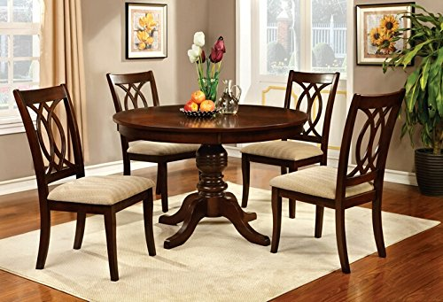 5 pc Carlisle transitional style brown cherry finish wood round top dining table set with padded fabric seat chairs