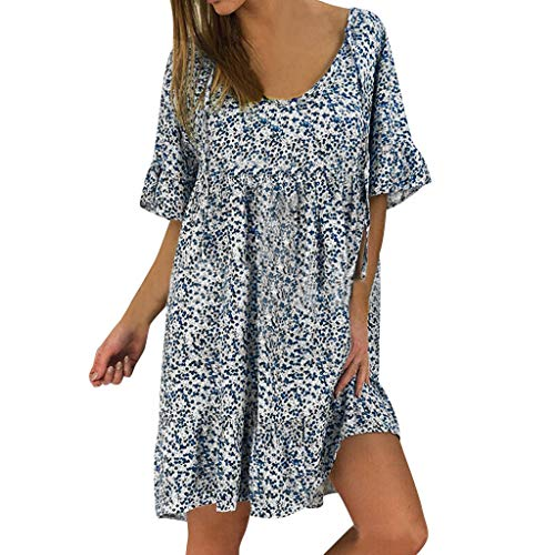 Casual Plus Size Dress,Londony Women Bohemian Neck Tie Vintage Printed Ethnic Style Summer Shift Dress Blue