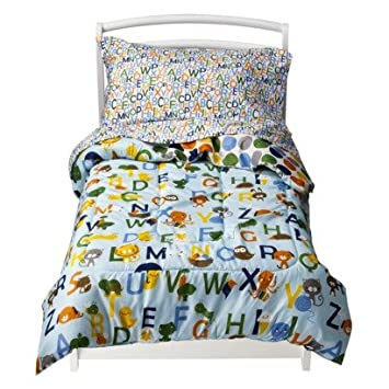 Amazoncom Circo Toddler Piece ABC Bedding Set Blue Home - Circo comic bedding set