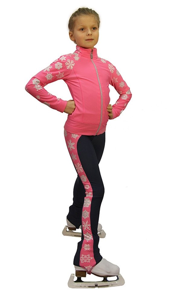 IceDress Figure Skating Outfit - Snowflake (Pink) (CS) by IceDress