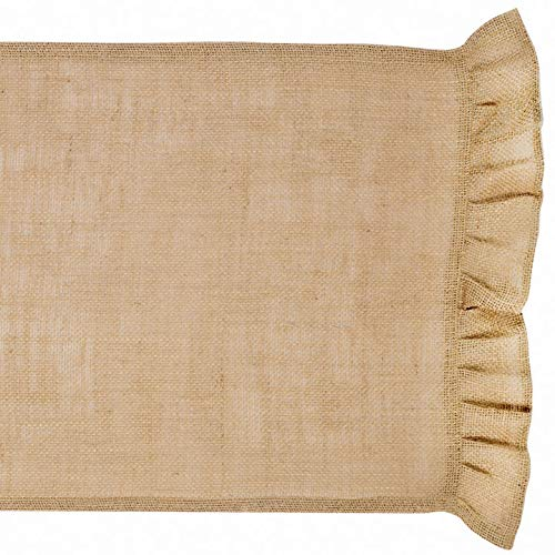 The Country House Collection Ruffled Burlap Table Runner - 36 inches (Table Ruffled Runner)
