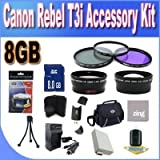 Canon T3I Accessory Saver Kit (58mm Wide Angle Lens + 58mm 2X Telephoto Lens + 58mm 3 Piece Filter Kit + 8GB SDHC Memory + Accessory Saver Bundle!)