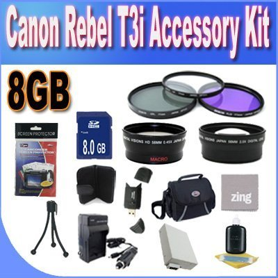 Canon T3I Accessory Saver Kit (58mm Wide Angle Lens + 58mm 3 Piece Filter Kit + 8GB SDHC Memory + Accessory Saver Bundle)