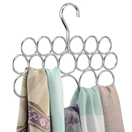 InterDesign Axis Scarf Hanger - Storage Organizer Rack for Scarves, Neck Ties, Belts, Shawls, Pashminas and Accessories - 18 Loops, Chrome