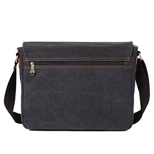 Vintage Men Messenger Bag, Kaukko Canvas Crossbody Shoulder Bags Laptop Briefcase Black by KAUKKO (Image #3)