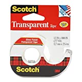 3M Transparent Tape with Dispenser, 1/2 Inch x 1000 Inches, 6-PACK