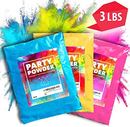Hawwwy Color Powder (3) Pounds Pink, Blue, Yellow Packets of Colorful Powder, Used for Color Run, Gender Reveal, Smoke Photography, Colored Powder Smoke Effect Holi Tannerite Surprise Powder Paint