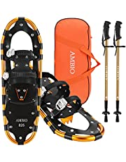 """Ambio Xtreme Light Weight Snowshoes Set for Adults Men Women Youth Kids, Aluminum Alloy Terrain Snow Shoes with Trekking Poles and Carrying Tote Bag, 14""""/21""""/25""""/27""""/30"""""""