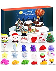 Sakmilu 2021 Adventskalender - Mini Mochi Squishy Toy Kerst Countdown-kalender 24 stuks dier knijpen speelgoed stressvermindering voor kinderen en volwassenen