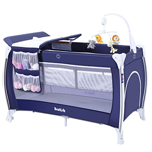 (Collapsible Cribs/Multifunction Portable Double Layer with Roller Removable Game Bed Baby Bed/Aluminum Alloy Steel Pipe Oxford Cloth Net Yarn Ventilation Cradle Bed/Gift Changing Pad Hanging Bag)