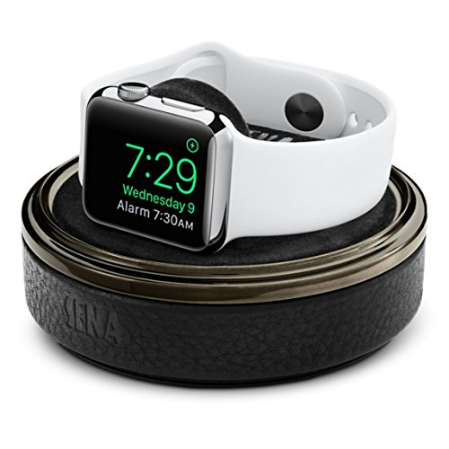 Sena Leather Watch Charging Case for Apple Watch - Black
