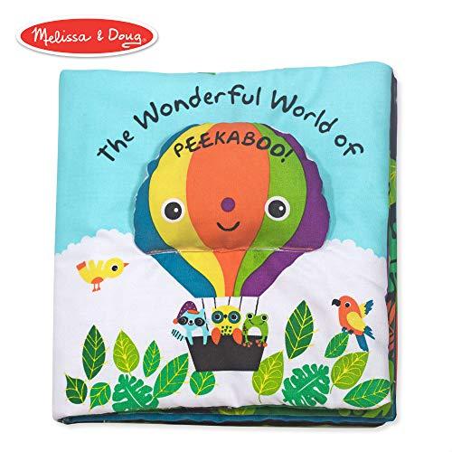 - Melissa & Doug Soft Activity Book - The Wonderful World of Peekaboo (Developmental Toys, Interactive Cloth Lift-the-Flap Baby Book, 5 Animals, Machine Washable)