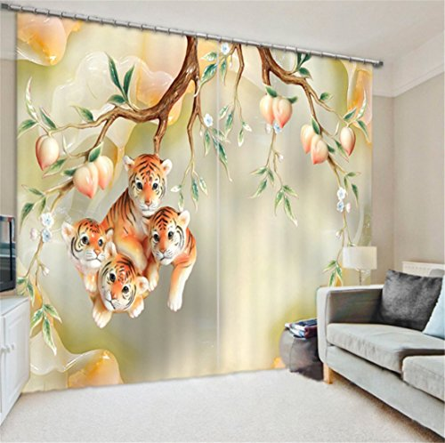 LB Teen Kids Animal Decor Collection,2 Panels Room Darkening Blackout Curtains,Young Tiger 3D Effect Print Window Treatment Curtains Living Room Bedroom Window Drapes,80 x 84 Inches by LB