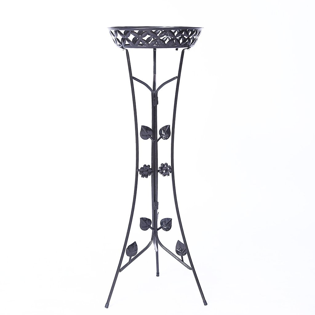 JKL-Fiore Stand Espositore per Fiori a 2 Livelli, portaoggetti in Metallo per Piante e fioriera, portaoggetti 2 vasi di Fiori, Nero (Dimensioni   34  80cm)