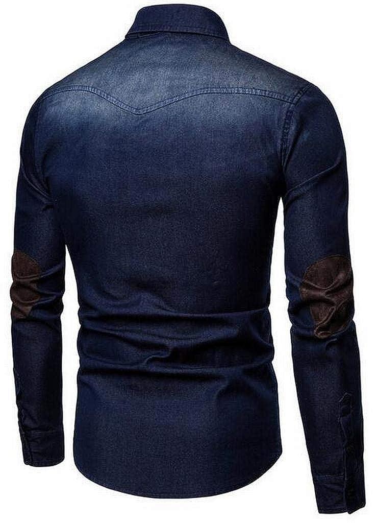 Fubotevic Mens Long Sleeve Denim Color Block Slim Button Up Dress Work Shirt