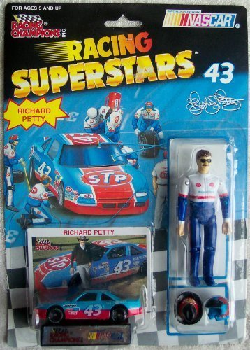 (Racing Champions Richard Petty #43 Racing Superstars Fully Poseable Figure Diecast Car Display Stand Removal Headgear Rare Set)