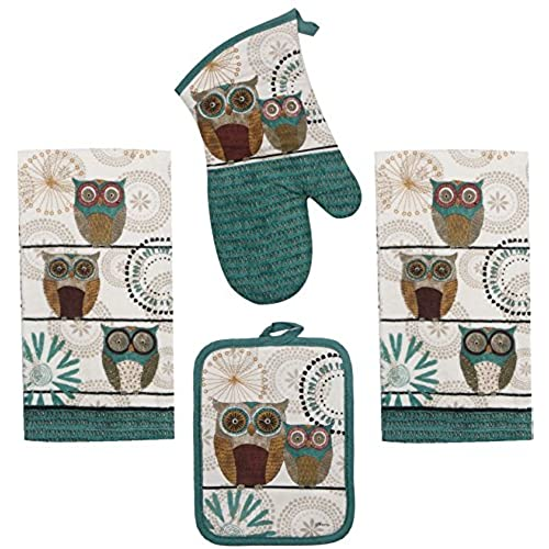 Nice Kay Dee Spice Road Retro Owl Set   2 Towels, Oven Mitt, Potholder Good Ideas
