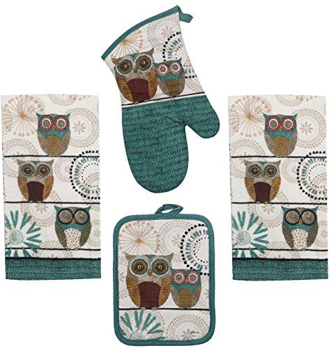 Kay Dee Linens (Kay Dee Spice Road Retro Owl Set - 2 Towels, Oven Mitt, Potholder)