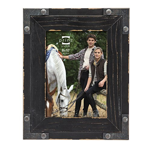 Prinz Brody Distressed Wood Frame with Faux Metal Corners, 8 by 10-Inch, Black - Black Wood Distressed Picture Frames