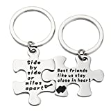 Image of Ensianth Best friend gift Side By Side Or Miles Apart Puzzle Jewelry Hand Stamped Necklace Keychain Gift for Friend (SBS-Keychain)