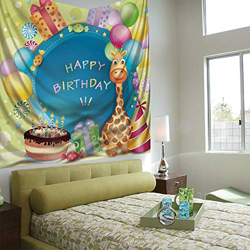 Popular Flexible Hot Tapestries Privacy Decoration,Birthday Decorations for Kids,Congratulation Wishes on Blue Backdrop Party Balloons Print,Multicolor ()