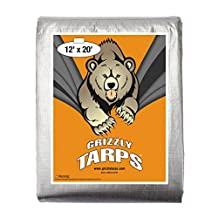 Grizzly Tarps 12 x 20 Feet Silver Heavy Duty Multi Purpose Waterproof Poly Tarp Cover 10 Mil Thick 14 x 14 Weave